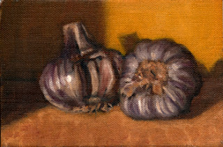 Oil painting of two purple bulbs of garlic, one with cloves removed.
