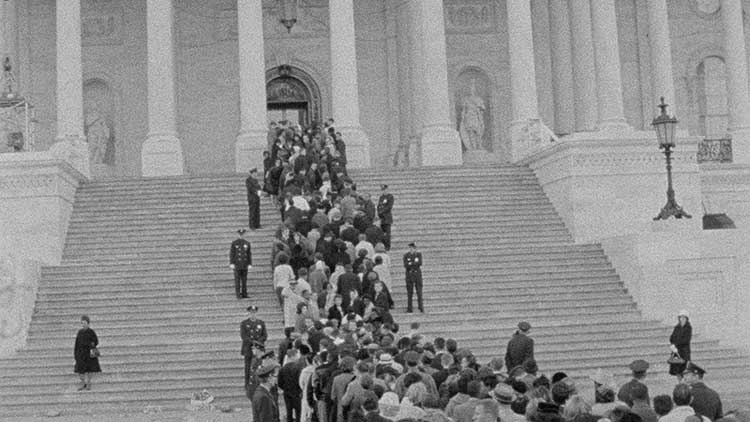 A shot from the funeral of John F. Kennedy in Faces of November