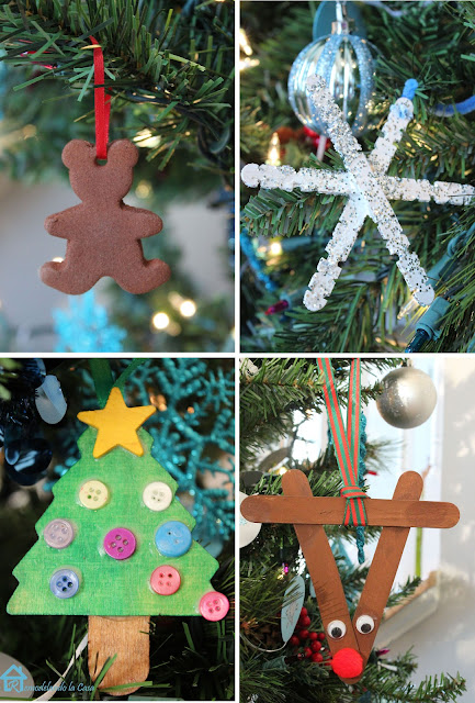 Rudolph the reindeer and star made out of popsicle sticks, Christmas tree with button ornaments and gingerbread man cookie ornament