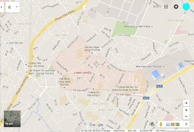 Bản đồ vị trí bán nhà Phường Linh Chiểu