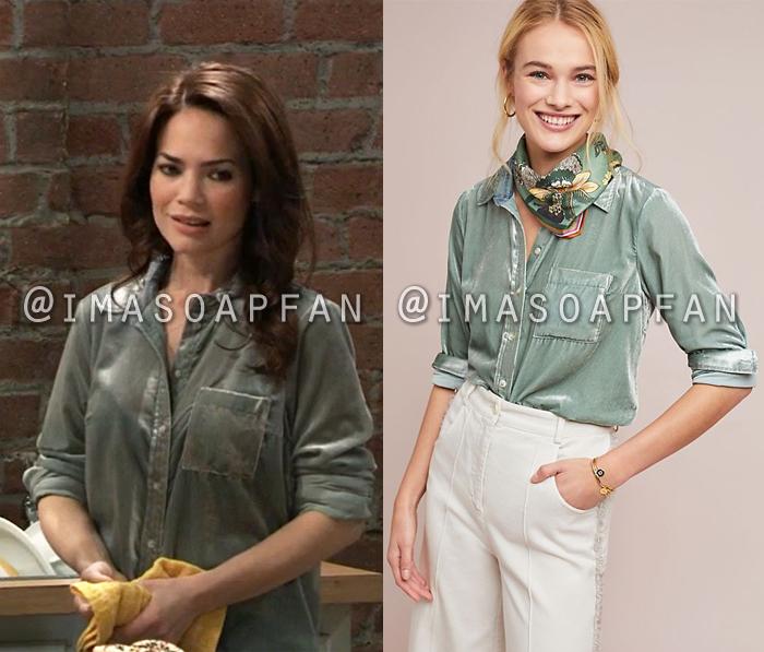 Elizabeth Webber, Rebecca Herbst, Light Green Velvet Shirt, General Hospital, GH