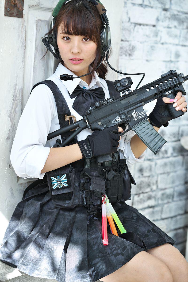 Sexy cosplay girl with gun porn