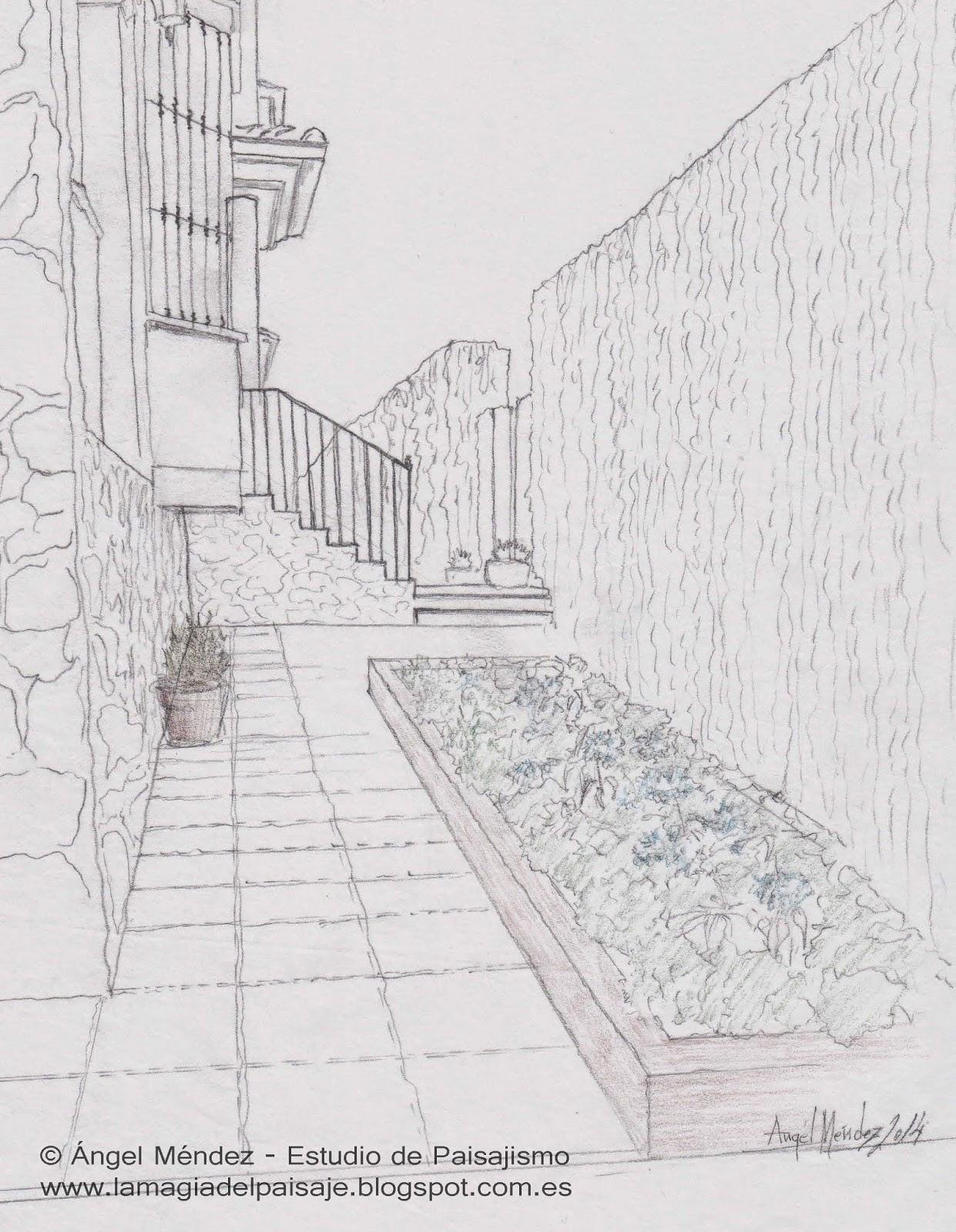Dibujo a mano de jardines