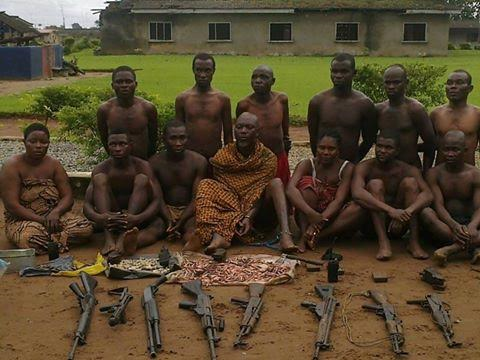 Photos: Two women and some men caught with arms and ammunition hidden inside a coffin