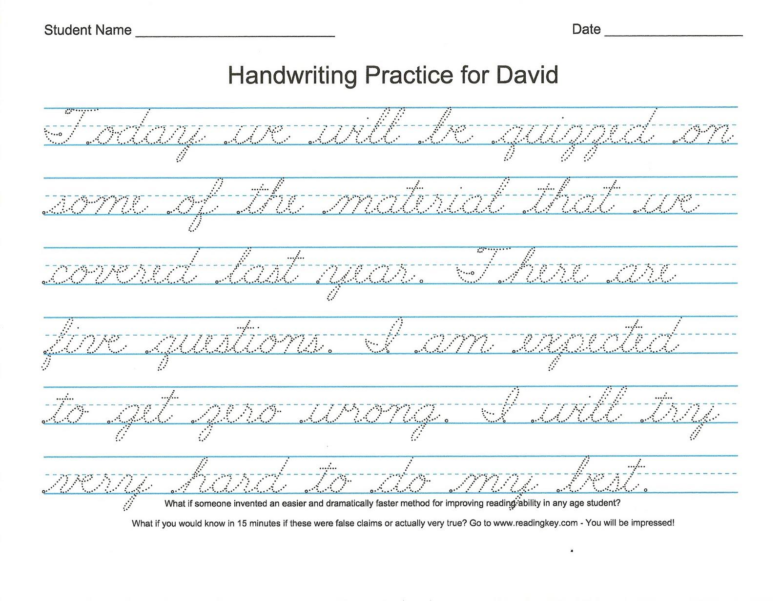 Customize Cursive Writing Sheets