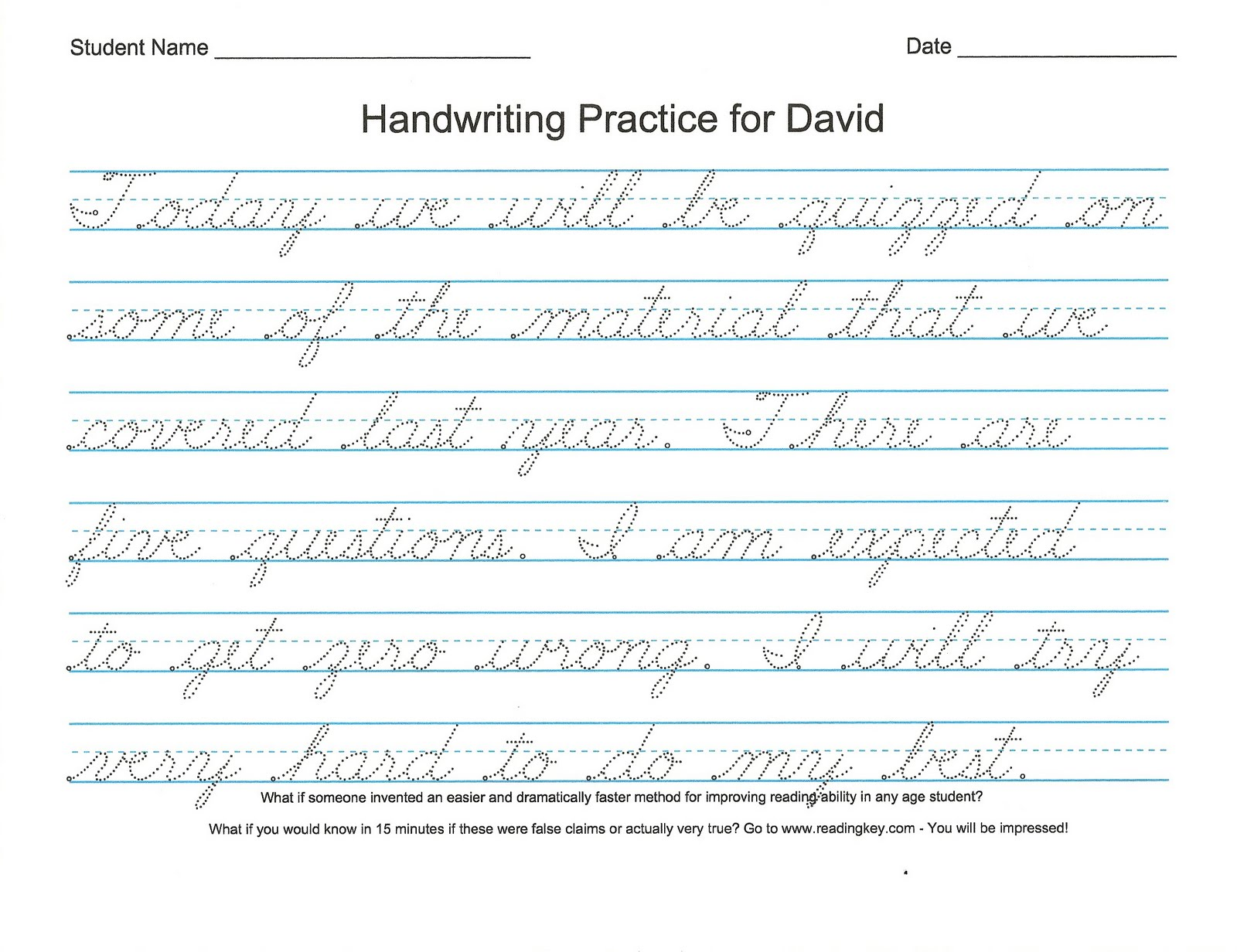 Cursive Worksheet Maker : Free printable cursive writing sentences worksheets