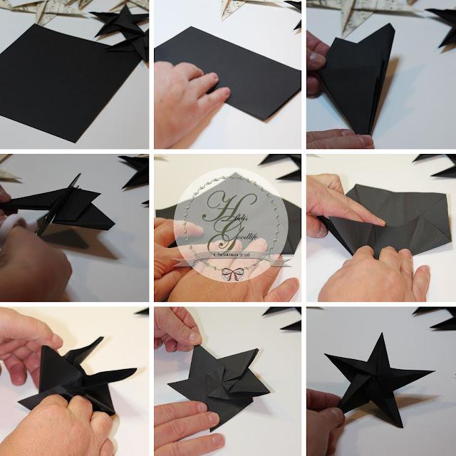 Anleitung in Bildern für das Falten eines fünfzackigen Origamisterns