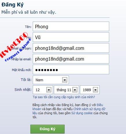 Form dang ky facebook mơi nhat nam 2013