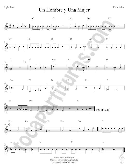 Un Hombre y Una Mujer Light Jazz de Francis Lai Partitura Fácil con Acordes Un Hombre y Una Mujer Easy Sheet Music with Chords