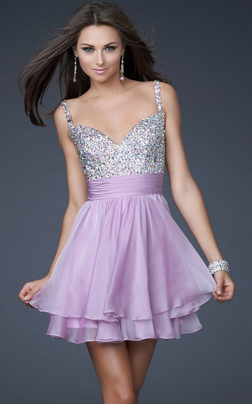 Homecoming Dazlling Prom Dresses 2013 Lavender Sequin Top