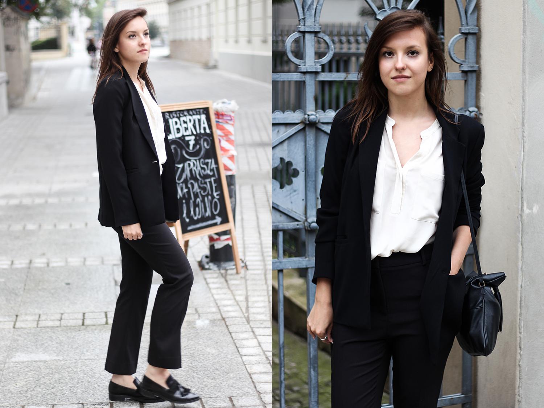 strój biznesowy stylizacja do pracy damski garnitur moda blog modowy marynarka czarna