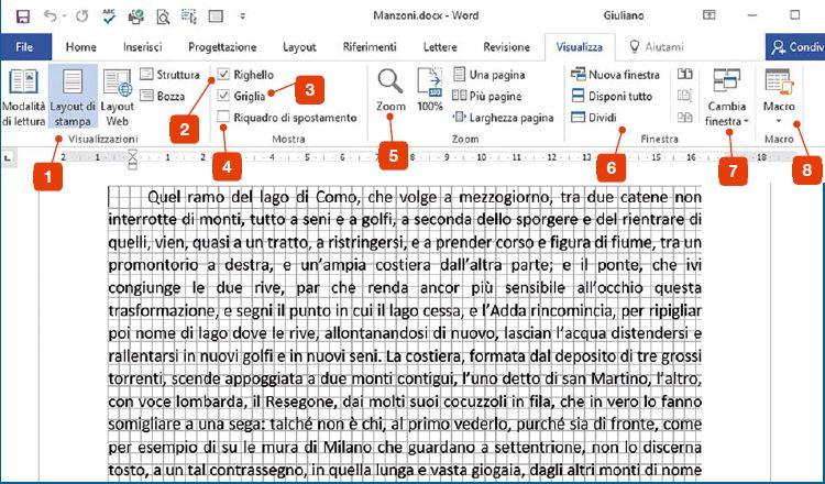 La scheda Visualizza di Word