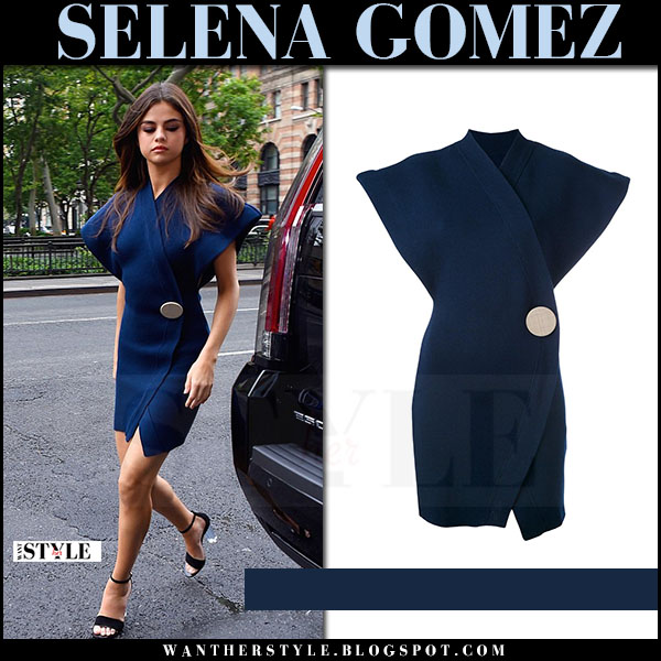 4bbe5d270231 Selena Gomez in navy blue mini dress jacquemus what she wore june 5 2017