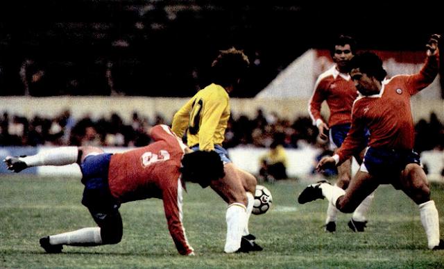 Brasil y Chile en partido amistoso, 8 de junio de 1985