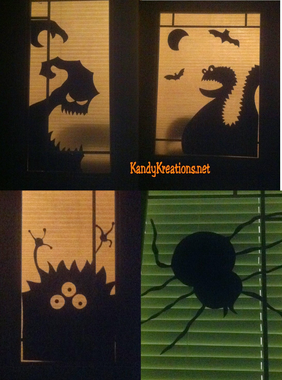 Dress your home up for Halloween with these fun and easy Halloween door decorations and window decorations.  These Halloween decorations are made with poster board and Halloween Monster eyes to create fun and eye popping Halloween door decorations, while the monster silhouette shapes create a non-scary Halloween window decoration with ease.