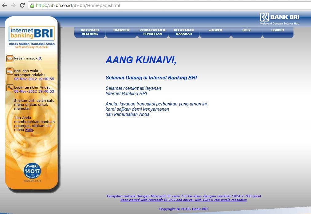 Cara Transfer Dari BRI Ke BCA Via Internet Banking