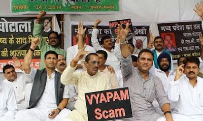 Protesters staging against VYAPAM Scam