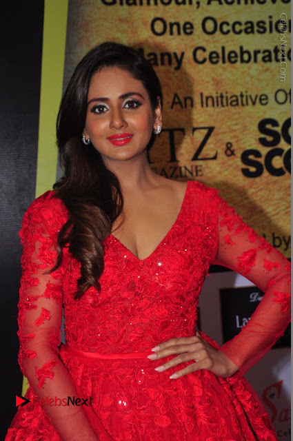 Actress Model Parul Yadav Stills in Red Long Dress at South Scope Lifestyle Awards 2016 Red Carpet  0001.JPG