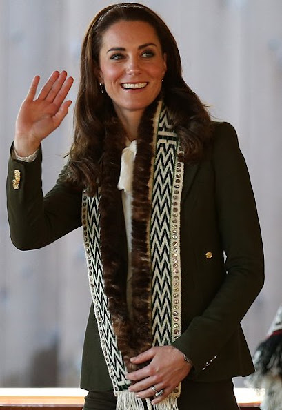 Kate Middleton wore a new Smythe Wool Duchess Blazer. and Somerset by Alice Temperley Spot Pretty Blouse.
