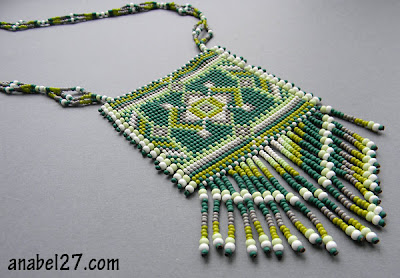 beads beadwork loom beaded necklace beadweaving green pendant blog