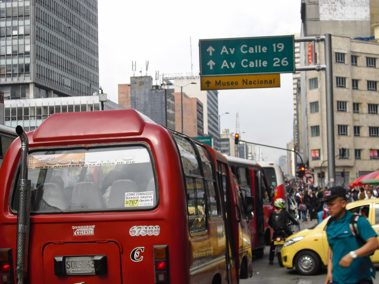 Old school buses in downtown Bogotá. Many of their drivers could do with some lessons ...