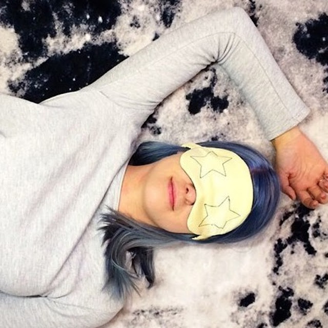blue hair christmas stars inspiration face eye mask