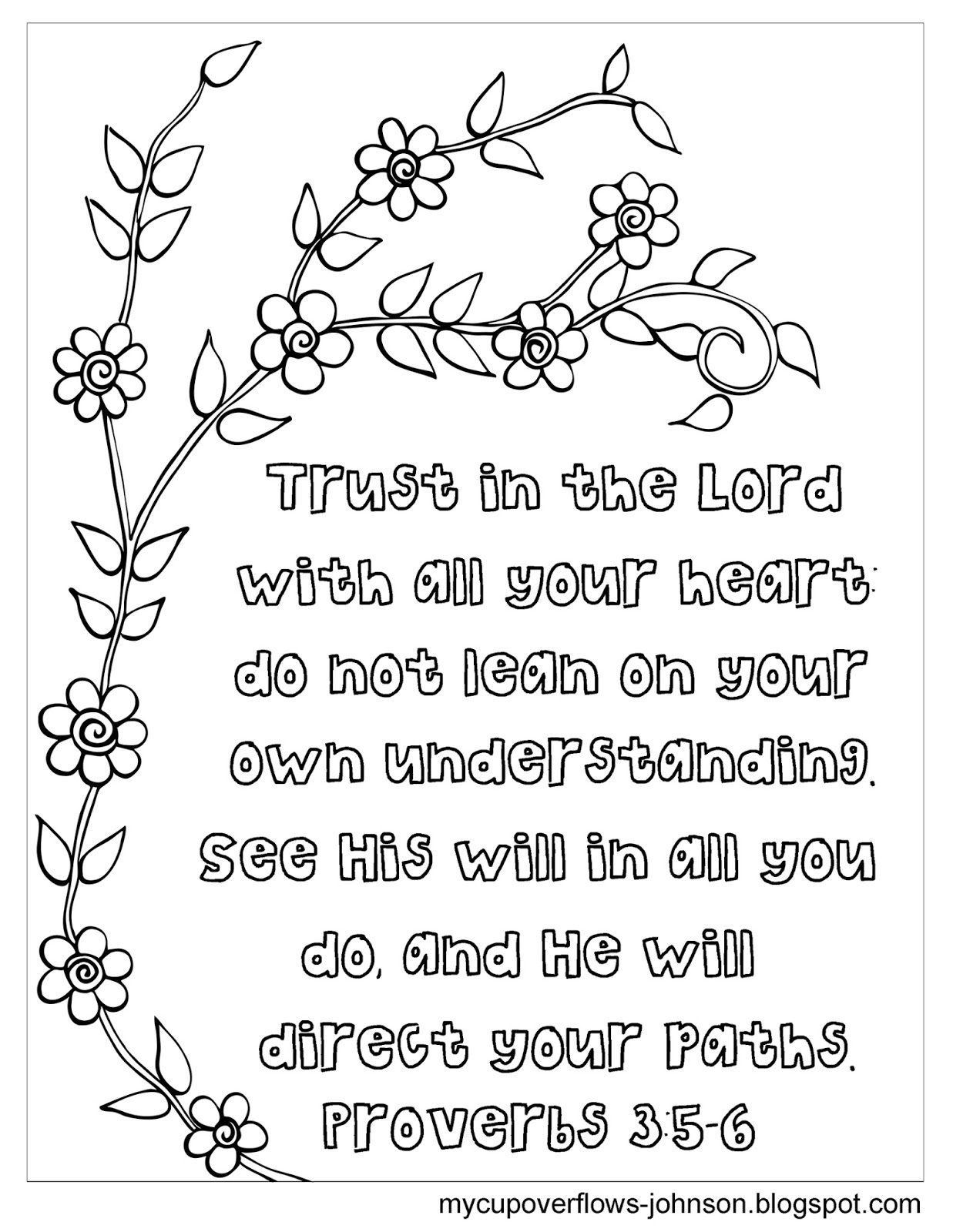 My Cup Overflows Trust The Lord Coloring Page