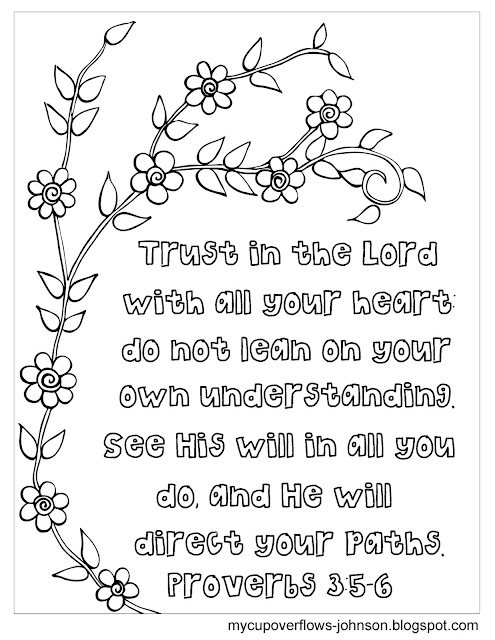 Trust in the Lord with all your heart bible verse coloring page