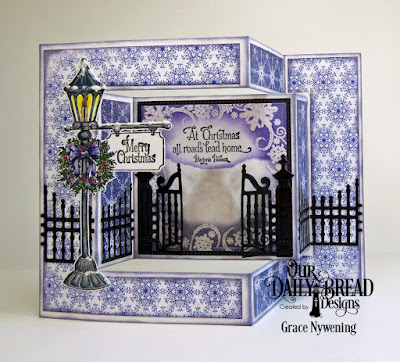 Our Daily Bread Designs Stamp Sets: Home for the Holidays, Snowflake Mini, Our Daily Bread Designs Fun and Fancy Folds Card Kit: Tri-Fold, Our Daily Bread Designs Custom Dies: Squares, Pierced Squares, Gilded Gate