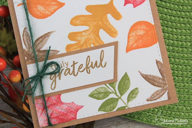Detail photo of Truly Grateful Card by Juliana Michaels featuring Shades of Autumn Stamp Set by Newton's Nook Designs
