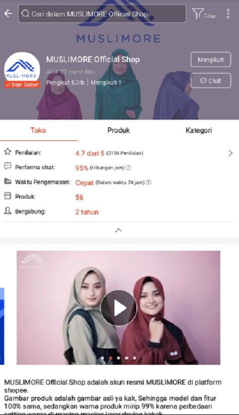 MUSLIMORE Official Shop Sebagai Toko Baju Muslim Terlaris di Shopee