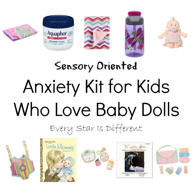 Sensory oriented anxiety kit for kids who love baby dolls.