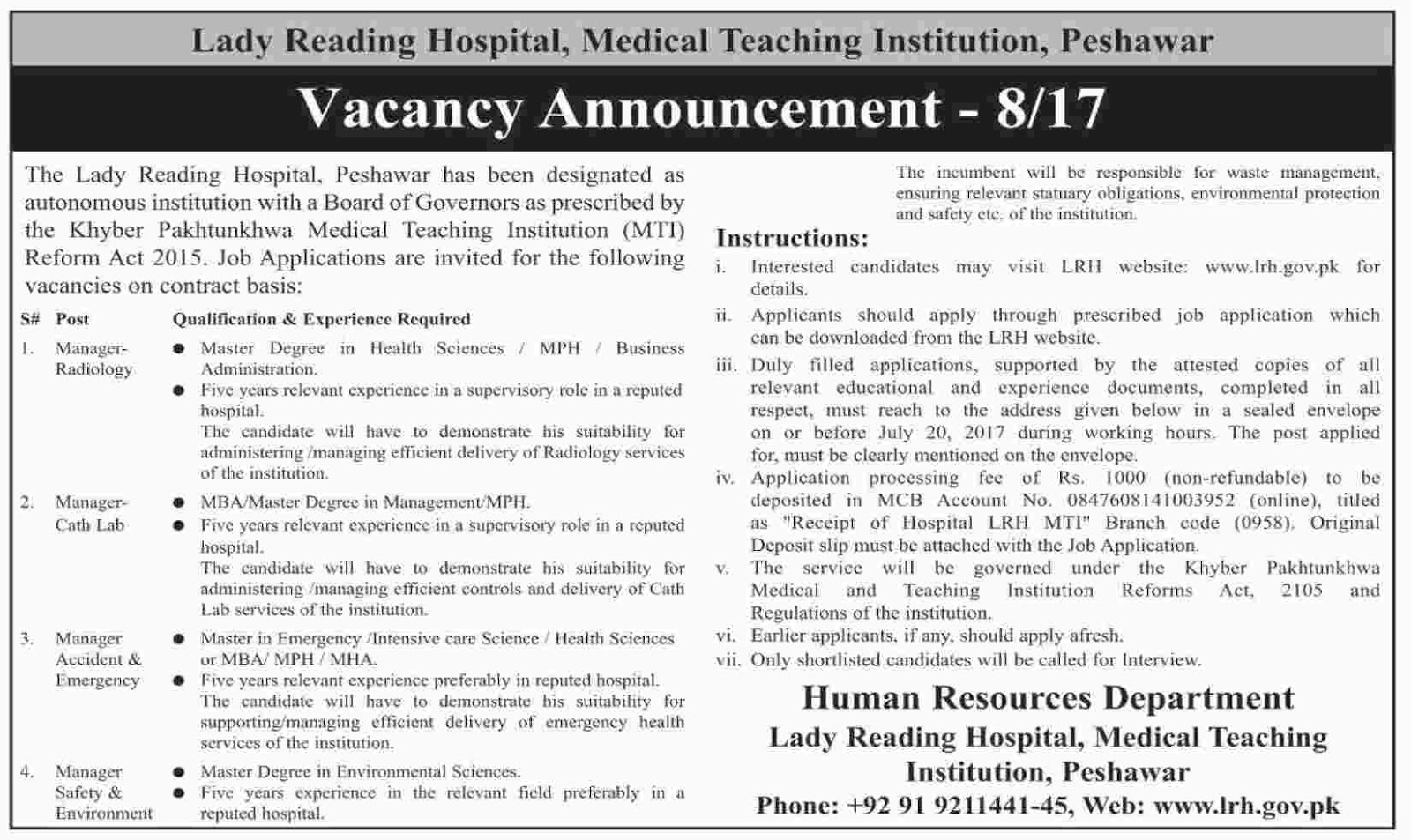 Jobs In Lady Reading Hospital Peshawar July 2017