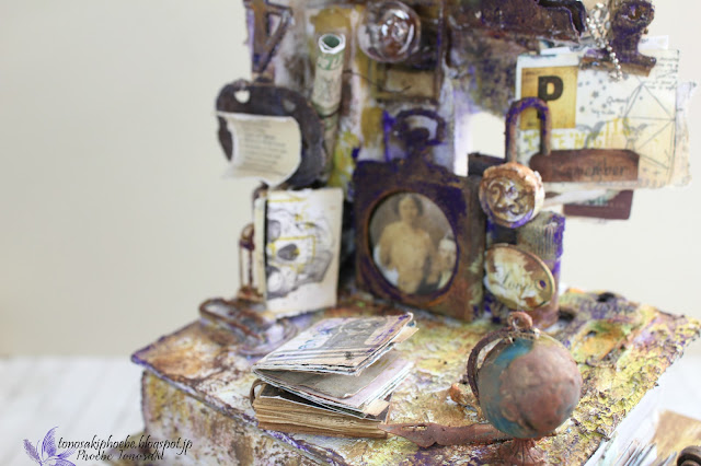 Mixed Media altered drawer by Phoebe Tonosaki