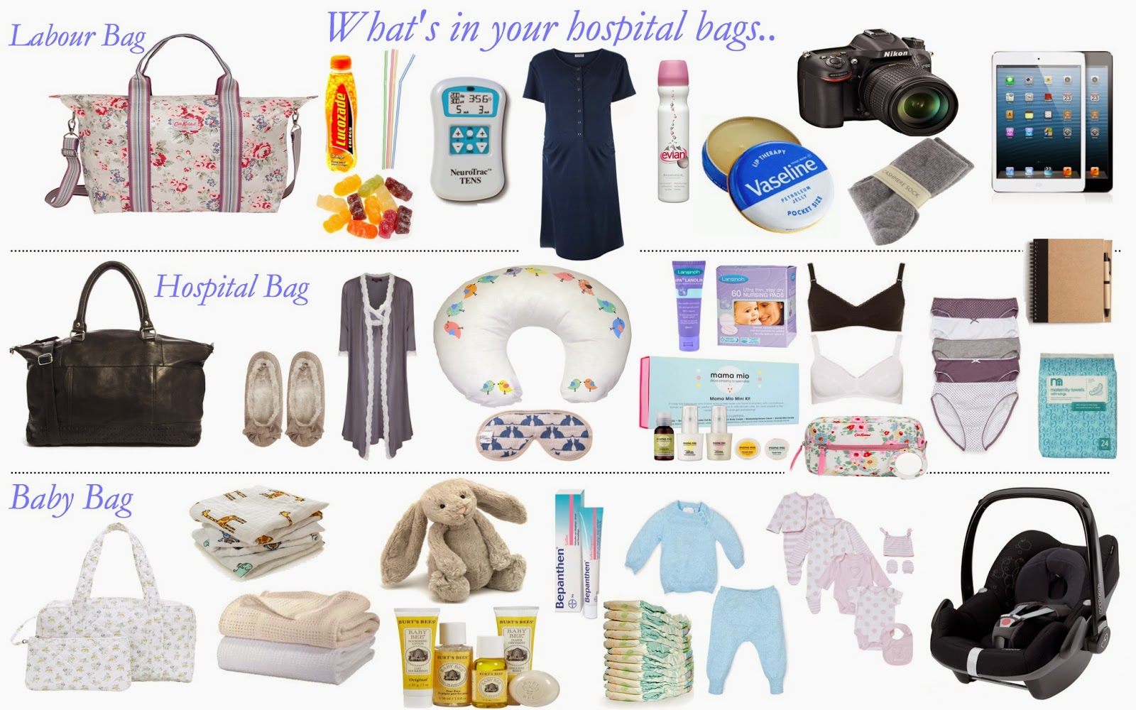 mamasVIB | V. I .BABY: Whats inside your hospital bags - yes bags! Why one bag isn't enough…., V. I .BAG | Whats inside your hospital bags - yes bags | Why one bag isn't enough | labour bag | hospital bag | baby bag | essential items for hospital bag | baby essentials for hospital | mum and baby | birth plan | hospital list | new baby | hospital stay | Cath Kidston | maternity nightwear | burts bees | baby products | birth day | mamasVIB |