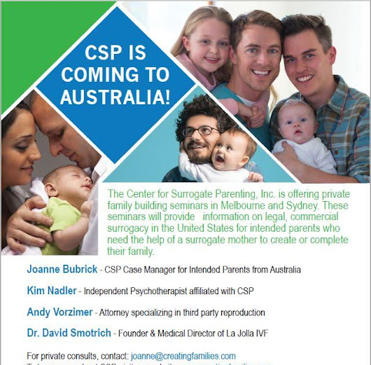 [Australia] Melbourne & Sydney - Center for Surrogate Parenting Seminars