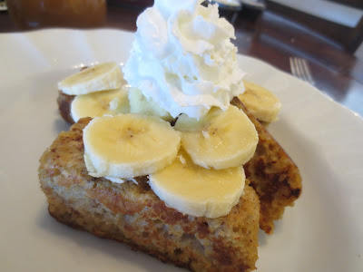 banana bread french toast with kneader's caramel syrup