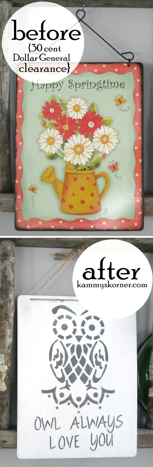 Kammy's Korner: Owl Always Love You Metal Sign -Thrift Store Makeover