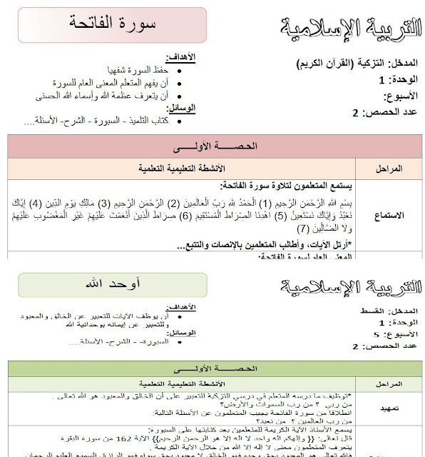 جذاذات التربية الاسلامية المستوى الاول ابتدائي وفق المنهاج المنقح الدورة الأولى والثاني