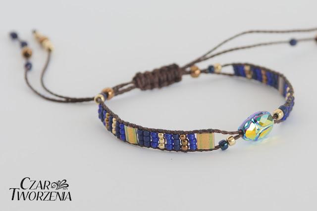 scarab bead jet AB braclest cord