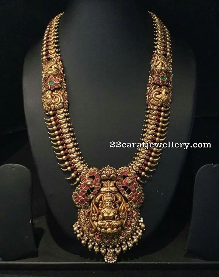 Antique Set with Kundan Peacock Lakshmi Pendant