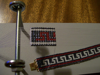 Color-Reversed Greek Key Bracelet on Loom