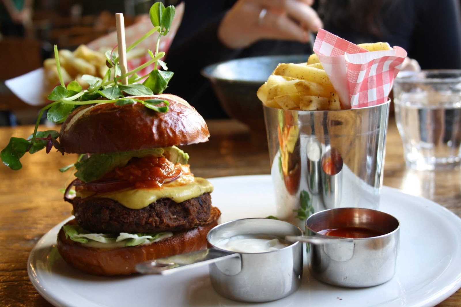 the ultimate vegan burger and Himalayan salted fries at natural bar and kitchen, Birmingham