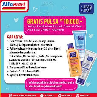 Daftarkuis Beli Clean & Clear di Alfamart Berhadiah Langsung Pulsa 10 ribu