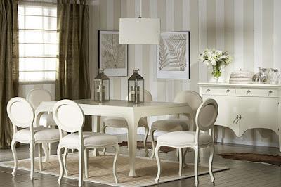 Mesas de comedor por La Decoradora Experta: Comedores en blanco