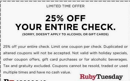 In general, the WebbyPlanet community publishes 6 new Ruby Tuesday coupon codes or deals each month, with discounts that range from 20% to 80% off. This page was last updated on November 15, This page was last updated on November 15,