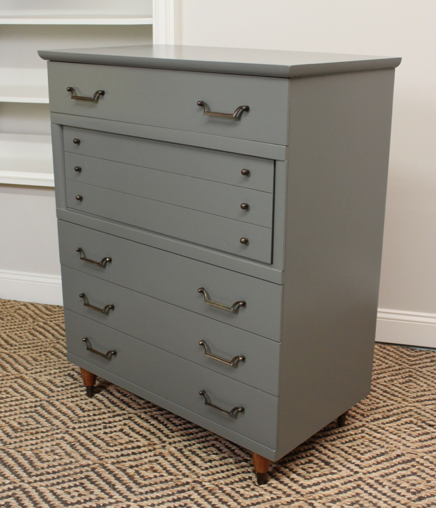 Dark Gray Dresser Blue Lamb Furnishings : Dark Gray Mid-century Highboy