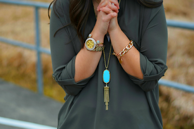 Oversized Gold Watch with Kendra Scott Rayne Necklace