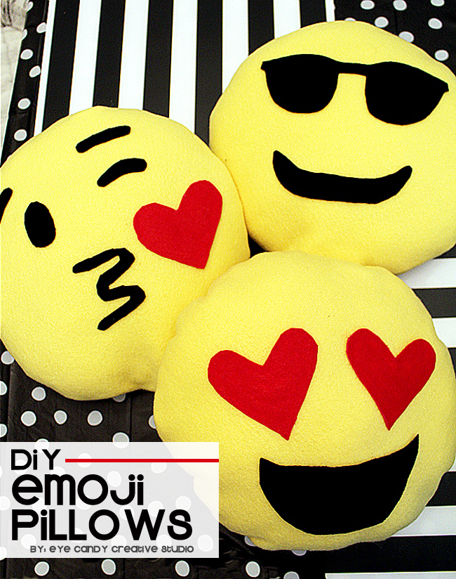 how to make emoji pillows, DIY emoji pillows, emoji craft, emoji party