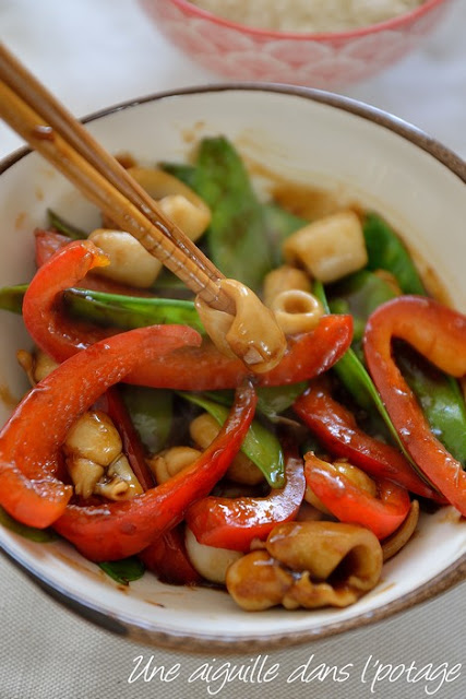Seared squid with vegetables